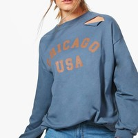 Daisy Distressed Oversized Slogan Sweatshirt | Boohoo