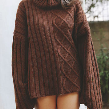 Caffee High Neck Loose Slit Side Dipped Cable Knit Jumper