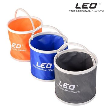 LEO Folding Bucket Canvas Body+Plastic Bottom Portable Camping Hiking Fishing Bucket Fishing Tackle Barrel In Zipped Storage Bag