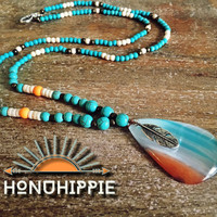 Boho Hippie necklace , Native American Jewelry feather pendant