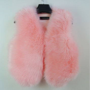 Artificial fur vest coat flush Pink