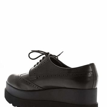 Women's Cleated Platform Black Brogues Shoes