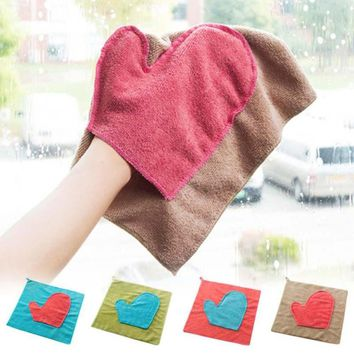 1pc Fiber Washing Towel Kitchen Thickness Dish Cloth Magic Glass Cleaning Wiping Rags Heart Convenience Kitchen Home Tools 3