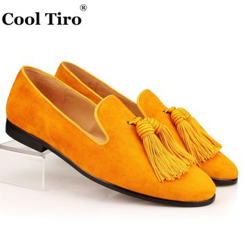 Cool Tiro Gold Suede Loafers Men Slip Slippers Silk Tassel Moccasins
