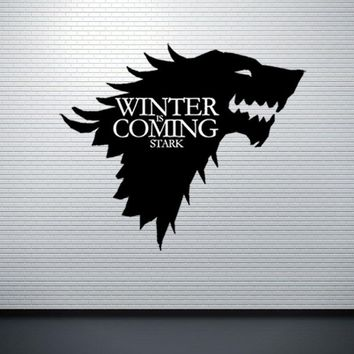 Game of Thrones House Stark of Winterfell Badge Direwolf Wall Stickers Home Decor For Kids Rooms Bedroom PVC Mural Wall Sticker