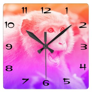 Vintage Macaque Monkey Wildlife Of Hong Kong Square Wall Clock