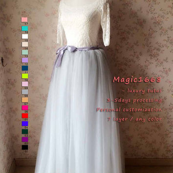 Extra long Maxi tulle skirt, Bridesmaid tulle skirt (custom) , Gray Maxi Skirt for wedding party , Tulle Skirt Dress