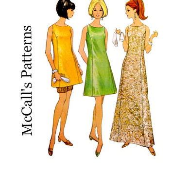 60s Sheath Dress Pattern Misses Mini Length with Shorts Princess Seam Sleeveless Vintage McCalls 8943 Sewing Patterns Size 10 Bust 31