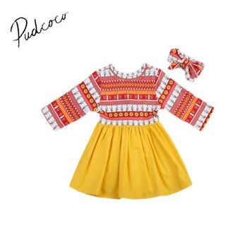 Pudcoco 0-24M Baby Girls Dress Toddler Floral Native Princess Party Summer Dress +Headband New Long Sleeve O-Neck
