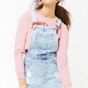 Distressed Denim Overall Dress - Women - Dresses - 2000248429 - Forever 21 Canada English