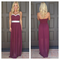 Debutante Crystal Detailed Maxi Dress - BURGUNDY