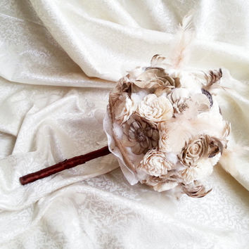 Cream brown rustic BOHO wedding BOUQUET Ivory Flowers, natural feathers, raw cotton, sola roses, dried lotos, cotton lace, vintage