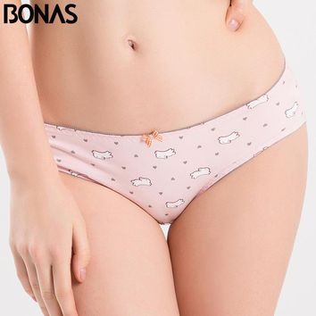 BONAS Pink Cotton Underwear Women's Briefs Bow Accessories Low Rise Waist Print Style Femme Seamless Spandex Sexy Woman Panty