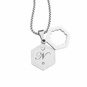 Double Hexagram Initial Necklace With Cubic Zirconia By Pink Box - N