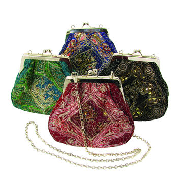 Recycled Sari Evening Kisslock Handbag