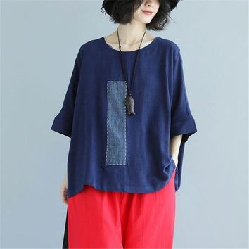 BUYKUD 2018 Summer Women Linen Splicing Solid Shirt Round Neck Half Bat Sleeve Pullover Casual Loose Navy Blue Blouses&Tops