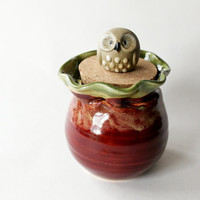 Lidded Jar with Owl, Ceramic Clay Handmade Caddy with Vintage Owl
