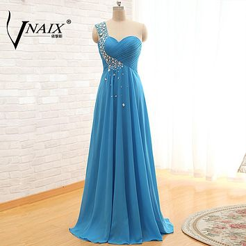 B022 In Stock Turquoise Peach Long Chiffon One Shoulder Crystal Real Bridesmaid Dress 2017 Customized Purple Lace-Up Party Gown
