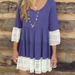 Blue Flare Sleeve Lace Hem T-Shift Dress