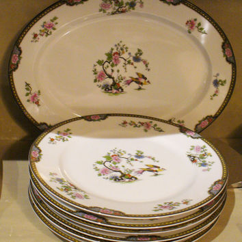 Noritake Pheasant - vintage china plate - six available - excellent condition - willow, bird, chinoiserie, asian, dinner, tabletop, floral