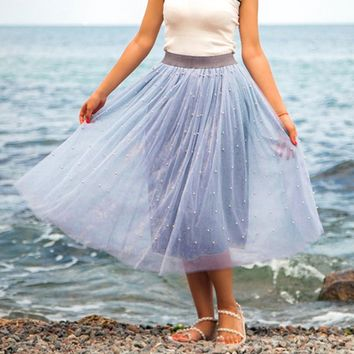 Spring Skirt Of Women Plus Size Bead Mesh Tulle Pleated Princess Mesh Bubble Skirt For Ladies Fashion Women Skirt