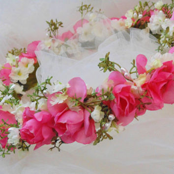 Pink Roses Garden Flower Crown, Wedding Crown, Bridesmaid Tiara, Flower Wreath, Renaissance Headdress, Fairy Crown