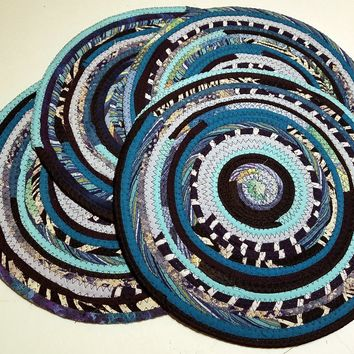 4 Turquoise Table Mats, Handmade Placemats, Round, Multicolor, Ready to Ship!