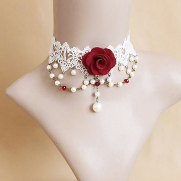 Handmade Red Flower Rose Crystal Bead Drop Lace Choker Collar Short Statement Necklace Ball Party Cosplay Bridal Wedding Gothic