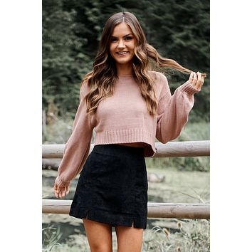 True Friends Cropped Sweater (Dark Mauve)