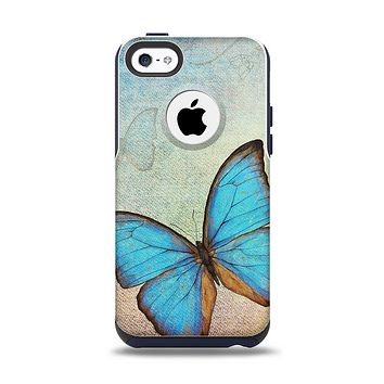 The Vivid Blue Butterfly On Textile Apple iPhone 5c Otterbox Commuter Case Skin Set