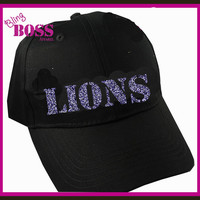 Team Name Hat Bling Design your own Colors Print Bulldogs Colts Cougars Lions Ladies Spirit Wear Sparkle Women Custom Sports Glitter Hat