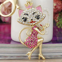 Grace Crown Lipstick Cat Lady Crystal HandBag Pendant Keyrings Keychains For Car key Chains holder for women K170