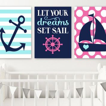 Girl NAUTICAL Nursery Art, Girl Nautical Decor, CANVAS or Prints, Pink Aqua Navy Anchor Sailboat, Let Your Dreams Set Sail Quote, Set of 3