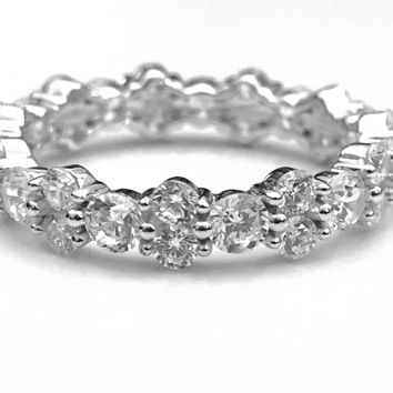Eternity Ring, Stackable Ring, Cubic Zirconia Ring, Cluster Ring, Sterling Silver Ring, Ring, Gifts for Her