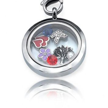 Personalized Floating Locket ringed with Charms, Letters or Stones