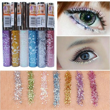 7 Color Waterproof Long-lasting Shining Glitter White Gold Eye Liner Pen Liquid Eyeliner Makeup Tools DYY1384 [8833540108]