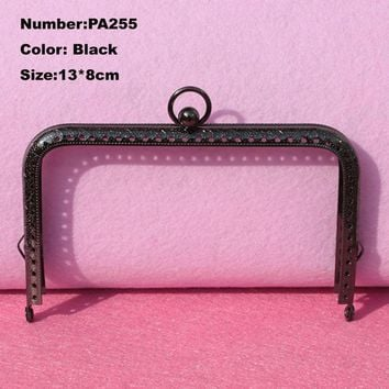 PA255 Purse Frame Hanger Embossing Square Circle 13*8cm Black Metal Clasps Purses Accessories Handles Handbags Diy Bag Parts