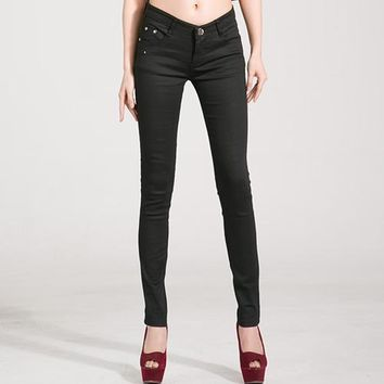 Jeans Female Denim Pants Candy Color Womens Jeans Donna Stretch Bottoms Feminino Skinny Pants Trousers