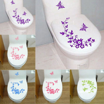 Free Shipping New Butterfly Flower vine bathroom wall stickers home decoration wall decals for toilet decorative sticker