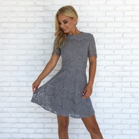 Fall Breeze Lace Skater Dress in Dusty Blue