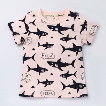 Funny Shark Pattern T Shirts For Baby Children Summer Fashion T-Shirt Toddler Boys Casual Clothing  Cute Girls Cotton Clothes