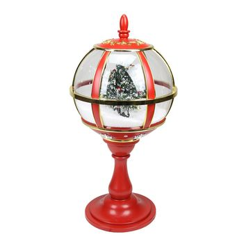 "23.5"" Lighted Red and Gold Musical Snowing Christmas Tree Holiday Table Top Street Lamp"