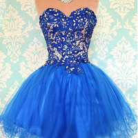 Modern Sweetheart Blue Lace Homecoming Dress