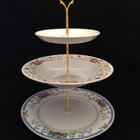3 Tier Plate Stand Beatrix Potter Blue Pink Border on White China Gold Crown Hardware 00124