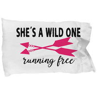 Wild Child Pillow Case, She's A Wild One Running Free, Pink Arrows, Free Spirit, Boho Decor, Kids Room, Quote Cover, Gift For Daughter