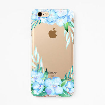 iPhone Rubber Case - Hydrangea - iPhone 6s case, iPhone 6 case, iPhone 6+ case - Clear Flexible Rubber TPU case J27