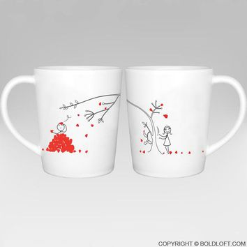 Love You Madly™ Couple Coffee Mugs, Matching Couple Mugs Set for Him for Her, Valentines Day Gifts for Boyfriend for Girlfriend, His and Hers Gifts for Couples, Anniversary Gift, Bridal Shower Gift