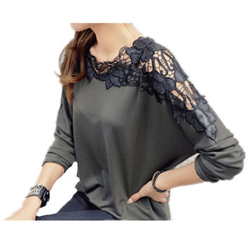 Lace Long Sleeve Chiffon Blouses Tops Gorgeous Shirts Embroidery Top Clothing