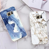 Phone Cases For Samsung Galaxy S5 S6 S6Edge Plus S7 S7Edge TPU Case Marble Stone Image Painted Cover Soft Mobile Phone Shell
