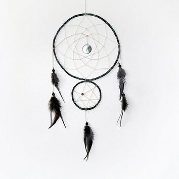 Moon, star dream catcher, blue, brown, grey, wall hanging, double, large, bedroom decor, beaded, galaxy, dark